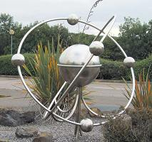 Sculpture of atom outside BNFL Visitor Centre in Sellafield, Cumbria, UK